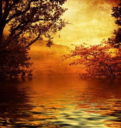 historical reflections: golden lake Stock Photo