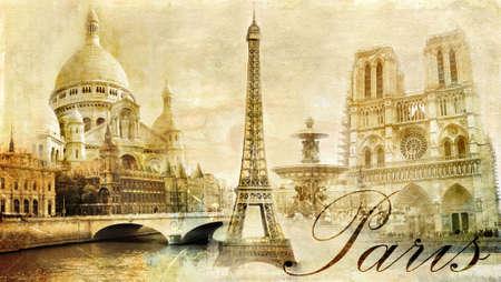 paris vintage: Par�s que sorprende - clipart de la vendimia