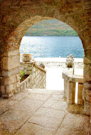 arch view on adriatic island photo