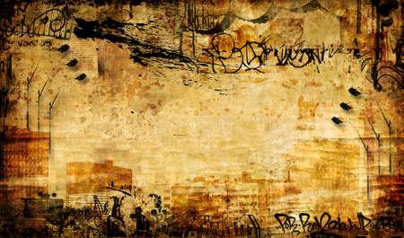 graffiti brown: grunge de fondo en estilo de arte urbano  Foto de archivo