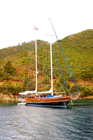 yacht on bay photo