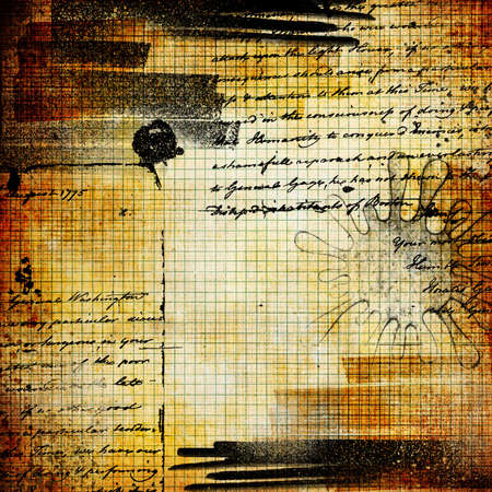 clutter: old grunge page with ink spots and handwritings