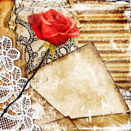torn cardboard: vintage  background with rose