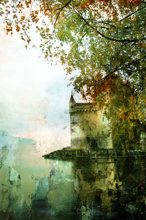 autumn castle - picture in painting style