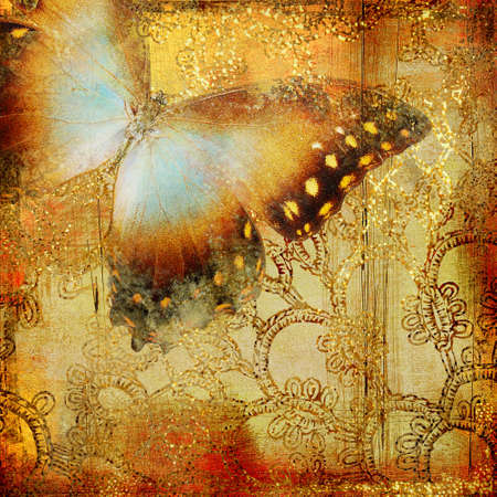 scrap gold: vintage background with butterfly Stock Photo