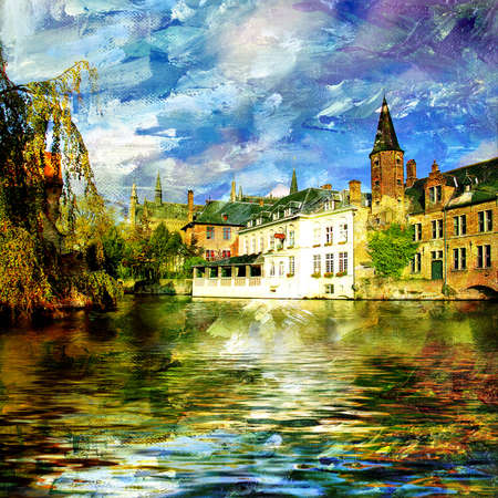 oil paint: city on water - artistic painting  Stock Photo