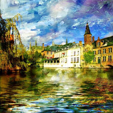 belgie: stad op water - artistieke schilderen  Stockfoto