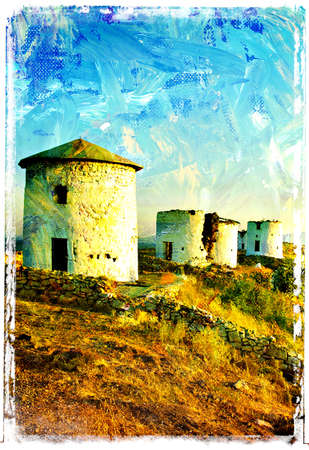oil mill: old windmills - picture in painting style