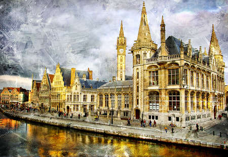 gent: Gent - painted picture Stock Photo