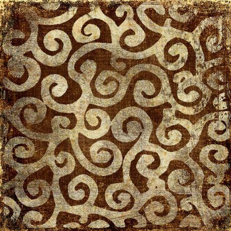 backgroud: brown vintage backgroud with golden patterns  Stock Photo