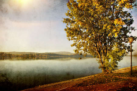 autumn lake - picture in retro style photo