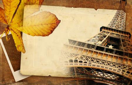 autumn in Paris - vintage background photo