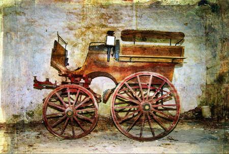 carreta madera: transporte de edad