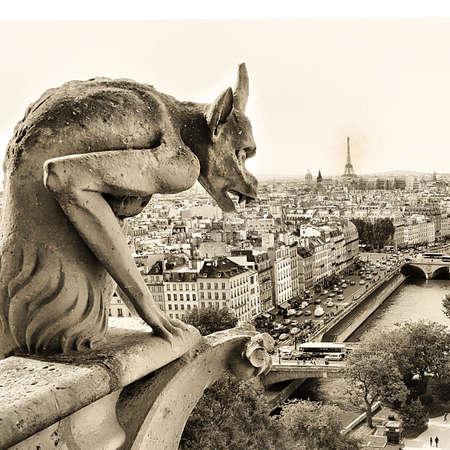 gargouille: gardiens de la vieille ville - toned photo s�pia