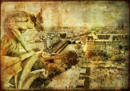 gargouille: Vue de Notre-Dame - Photo en style r�tro Banque d'images