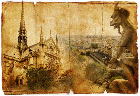 grunge leaf: old cathedral - Notre dame - vintage card