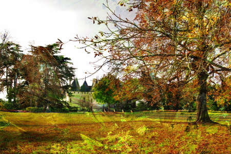 autumn landscape with castle - picture in painting style photo