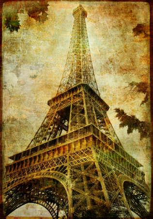eiffel tower - vitage card photo