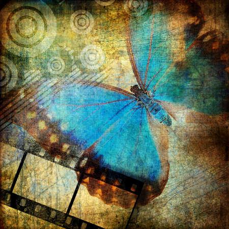 grunge wall: artwork in grunge style with butterfly