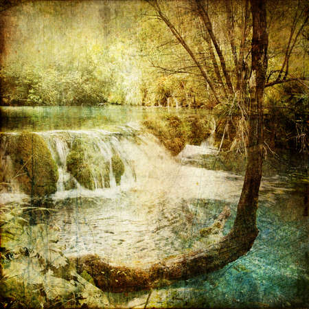 vintage picture - waterfall photo