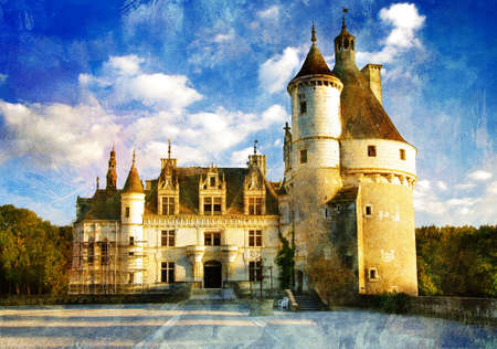 oil park: beautiful castle Chenonseau -picture in painting style  Stock Photo