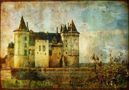 monument valley: old medieval castle Saumur - vintage card Stock Photo