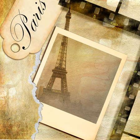 album: memories about Paris - vintage photoalbum Stock Photo