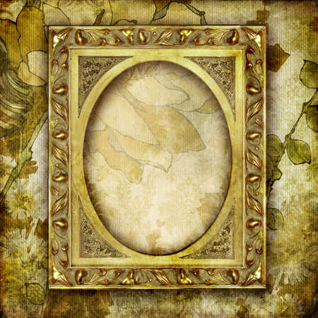gilded: golden  frame over old wallpapers Stock Photo