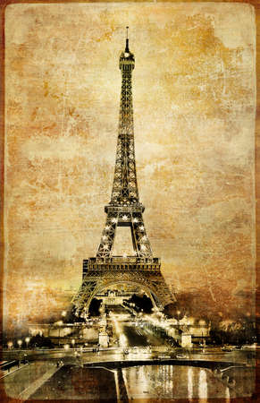 vintage paris: Eiffel tower - vintage card