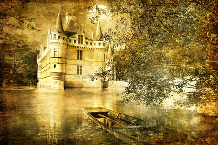 sepia toned: castle on water - sepia toned picture