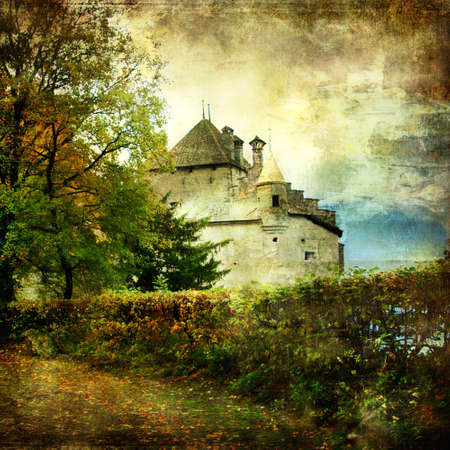 historical: Cillion castle -picrure in painting style Stock Photo