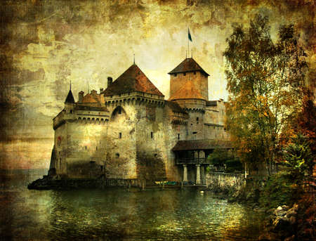 swiss: Cillion castle -picrure in painting style Stock Photo
