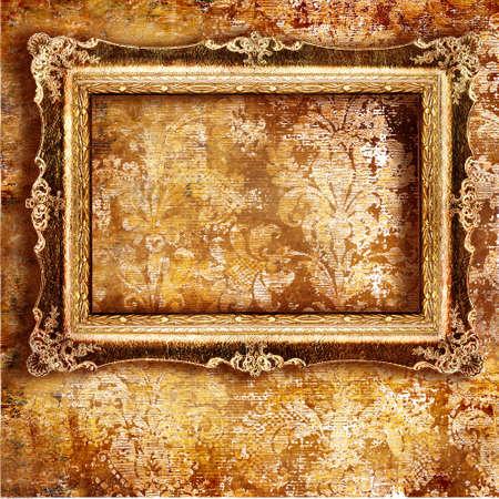 antique frame ofer old wallpaper Stock Photo