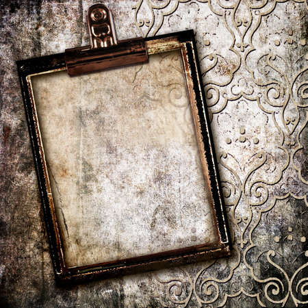 dirty room: grunge background with frame