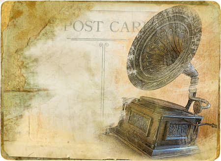 paperboard: retro card with gramophone