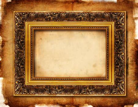 vintage frame over old paper
