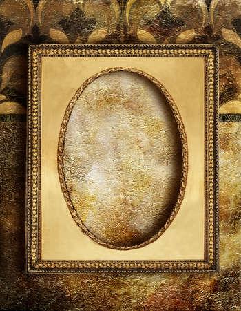 golden frame over golden wall photo