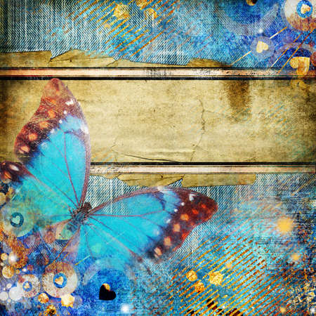 torn jeans: artwork in grunge style with butterfly
