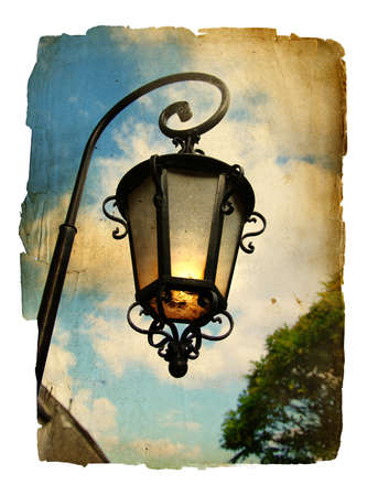 old lantern - picture in retro style photo
