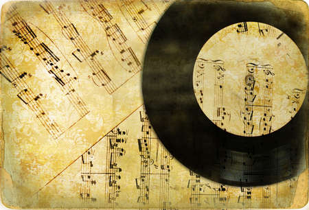 plastic art: vintage musical background Stock Photo