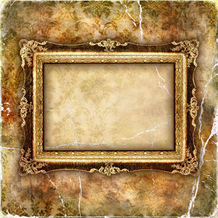 empty frame over old wallpaper