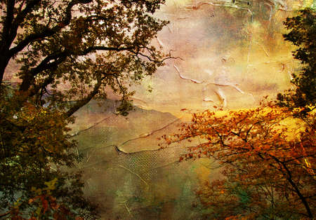 autumn lanscape - artwork in painting style Stock Photo