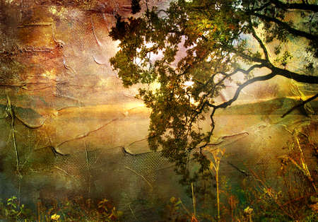 gloomy: gloomy sunset - artwork in painting style Stock Photo