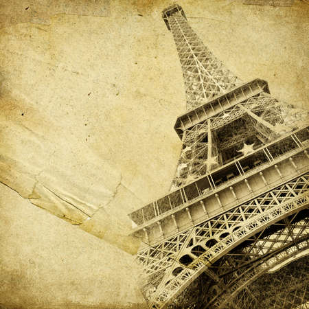 paperboard: old paper with  parisian pictures