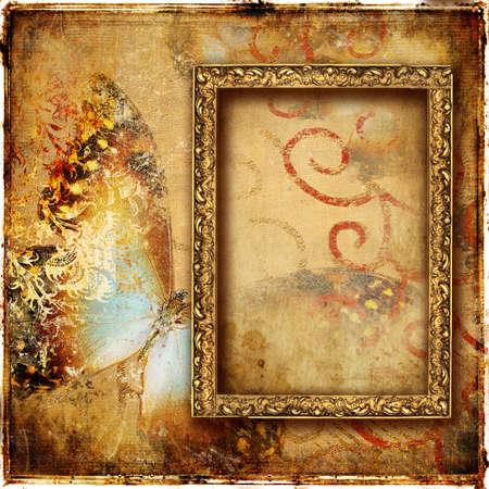 framed: vintage framed background Stock Photo