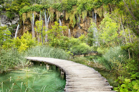 plitvice: wooden road on Plitvice waterfalls Stock Photo