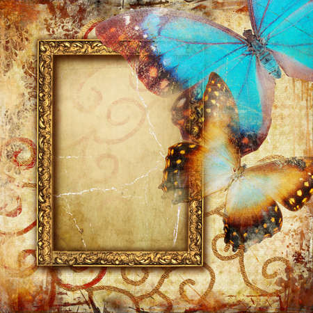 vintage frame with butterflies photo