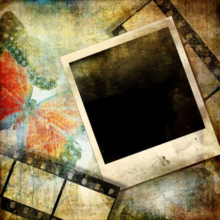 grunge background with frame and filmstrips photo
