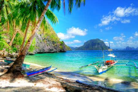 island paradise: beautiful tropical beach scene Stock Photo