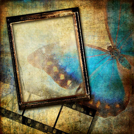 abstraction in grunge style with frame photo